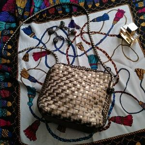 Elka Gold Crossbody Bag Woven Braided Vintage